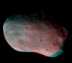 Phobos in 3D 12/6/16 The ExoMars Trace Gas Orbiter has imaged the martian moon Phobos as part of a second set of test science measurements made since it arrived at the Red Planet / ESA