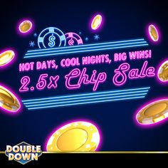 DoubleDown Casino on Mobile! Doubledown Casino, Double Down, Cash Prize, Chips, Track, Coding, Neon Signs, Cool Stuff, Day