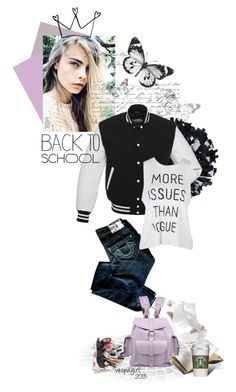 Back to School Jacket by vespagirl on Polyvore featuring True Religion, Glamorous, Grafea, BackToSchool, jacket and Letterman