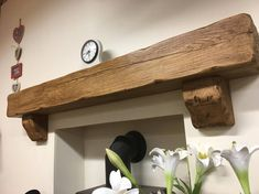 """rustic oak beam floating mantle(6"""" x 6"""") with oak corbel brackets included in Home, Furniture & DIY, Fireplaces & Accessories, Mantelpieces & Surrounds   eBay"""