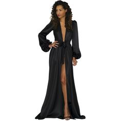 Simone robe in black silk charmeuse satin- floor-length robes, long... ($565) ❤ liked on Polyvore featuring intimates, robes, bridal sash belt, lingerie robe, bath robes, bride satin robe and petite lingerie