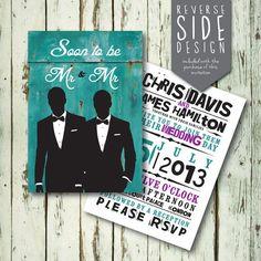 Bespoke Personalised Mr & Mr Printable Wedding by RobotAndRuby, Vinyl Wall Art, Wall Art Designs, Bespoke, Printables, Invitations, Handmade Gifts, Wedding, Etsy, Art Walls