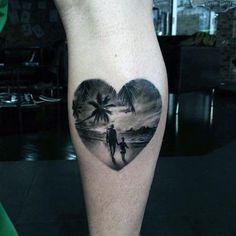 Dad Daughter Family Tattoo With Palm Tress And Beach In Heart Guys Forearms