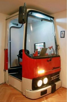 An old bus turned into a home office.