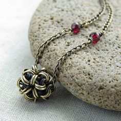 Verha Brass & Garnet Chainmaille Necklace