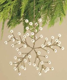 Wire and Pearl Snowflake Ornament: Beaded Christmas Decorations, Snowflake Decorations, Beaded Christmas Ornaments, Snowflake Ornaments, Christmas Snowflakes, Christmas Projects, Holiday Crafts, Christmas Crafts, Wire Ornaments
