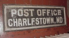 """LARGE & HEAVY HAND-PAINTED SOLID WOOD CHARLESTOWN, MD POST OFFICE SIGN 50"""" wide by 16.5"""" tall $349.95"""
