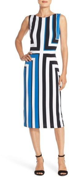 Maggy London Stripe Jersey Midi Dress