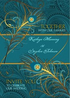 Stunning paisley & peacock themed wedding invitation