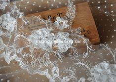 Ivory Wedding Lace Trim Embroidered Floral Lace 6.6 by Lacebeauty, $5.99