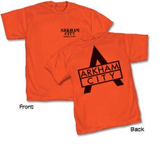 Batman Arkham City Staff T-Shirt - Entertainment Earth Online Comic Books, Batman Arkham City, Orange T Shirts, Sin City, Cool Stuff, Mens Tops, How To Wear, Entertainment, Earth