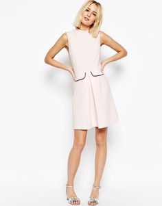 Image 4 ofASOS High Neck A Line Dress with Pockets