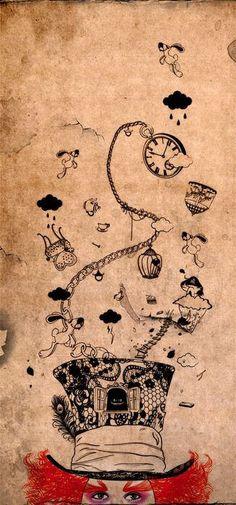 Alice in Wonderland: Mad Hatter (Tim Burton, illustration, Johnny Depp) Lewis Carroll, Arte Disney, Disney Art, Disney Ideas, Disney Tattoos, Glasses Wallpaper, Chesire Cat, Alice Madness Returns, Mad Hatter Tea
