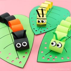 This easy caterpillar craft for kids is fun and simple for preschoolers and kids of all ages to make as a spring paper craft or when learning about caterpillars. #iheartcraftythings