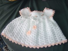 https://flic.kr/p/6GKaqj | White crochet baby dress 003 | Made in DK from a vintage Lister pattern 2059. I have made this pattern many times over the years and add a contrast trim and rosubuds to trim. THIS PATTERN WAS SHARED BY SOMEONE ELSE ON PINTEREST WHO SAID THAT IT WAS A FREE PATTERN. I DIDN'T POST IT ON PINTEREST AND IT IS NOT A FREE PATTERN !!!!!  Thank you