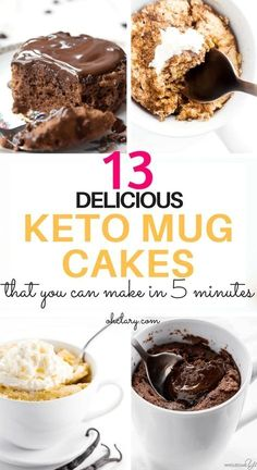 My Favorite Keto Mug Cakes. 13 Delicious Keto Mug Cake Recipes To Try Right Now. These low carb easy to make mug cakes are made with almost flour and chocolate and are microwaveable. Most of these ketogenic mug cakes have 3 ingredients or less. These Choc Low Carb Sweets, Low Carb Desserts, Easy Desserts, Low Carb Recipes, Dessert Recipes, Holiday Desserts, Recipes Dinner, Dessert Drinks, Frozen Desserts