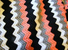 Crocheted Chevron Throw Blanket in Black White Gray by LewisKnits