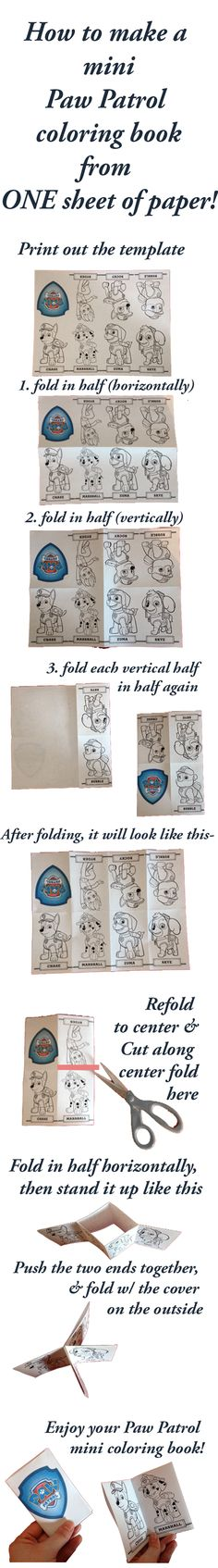 Paw Patrol Coloring Books DIY; How to make a mini Paw Patrol coloring book from a single sheet of paper!
