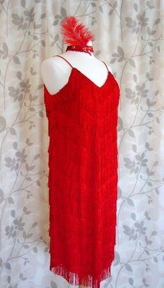 I want this. Great Gatsby Red Roaring 20s Fringe Flapper Dress