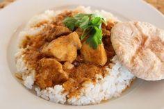 Tandori csirke curry, rizzsel és chapati-val