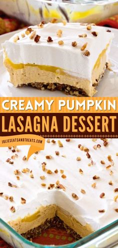 This creamy and delicious Pumpkin Lasagna Dessert is a holiday baking recipe with layers of gingersnap cookies, vanilla pudding, and pumpkin! Add this to your list of Thanksgiving desserts! Pumpkin Lasagna, Thanksgiving Desserts Easy, Ginger Snap Cookies, Desserts For A Crowd, Holiday Baking, Pumpkin Recipes, Vanilla Cake, Ginger Snaps, Snacks