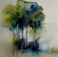 Ann-Christin Moberg - Gallery of Swedish artists Abstract Watercolor Art, Watercolor Painting Techniques, Watercolor Landscape Paintings, Watercolor Trees, Abstract Landscape Painting, Watercolor And Ink, Watercolor Illustration, Landscape Art, Painting & Drawing