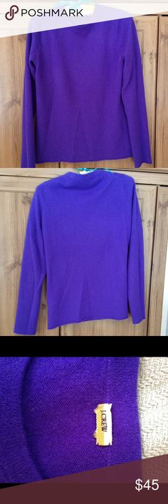 J.Crew 100% cashmere sweater J.Crew 100% cashmere crew neck sweater in royal purple; roll hem on bottom and edge of sleeves; classic style and fit J. Crew Sweaters Crew & Scoop Necks