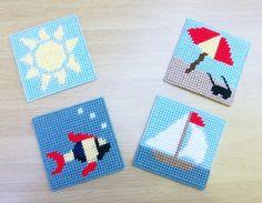Seaside Beach-Design Coasters: Set of 4 - Beach Umbrella, Sun, Fish and Sailboat