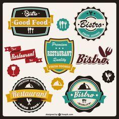 Retro Food Stickers Free Vector