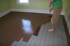 Painted hardwood floors - Painted Wood Floors Will Liven Up Your Home How To DIY Painted Hardwood Floors, Old Wood Floors, Pine Floors, Concrete Floors, Basement Flooring, Diy Flooring, Wooden Flooring, Flooring Ideas, Laminate Flooring
