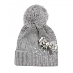 Regina Cuffia con pon pon e fiocco di strass Girls Accessories, Winter Hats, Beanie, Cute, Baby, Fashion, Headscarves, Rhinestones, Moda