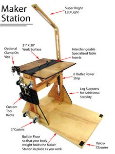 Maker Station: the Portable Reconfigurable Work Station for All Makers : 27 Steps (with Pictures) - Instructables Portable Workbench, Workbench Plans, Cool Woodworking Projects, Woodworking Tips, Space Saving Furniture, Cool Furniture, Furniture Ideas, Detox Kur, Wooden Plugs