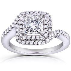 Annello by Kobelli 14k White Gold 1 1/5ct TDW Princess Diamond Engagement Ring (H-I, I1-I (Size 6.5), Women's