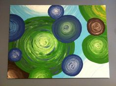 Acrylic texture painting - blue and green circles!