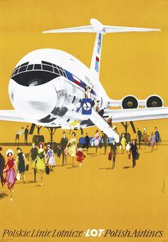 Vintage travel poster for LOT Polish Airlines Airline Travel, Travel And Tourism, Air Travel, Poster Ads, Advertising Poster, Vintage Advertisements, Vintage Ads, Gravure Illustration, Photo Vintage