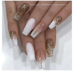 Matte White Nails, White Nail Art, White Glitter Nails, White Nails With Gold, White Nail Designs, Nail Art Designs, Nails Design, New Years Nail Designs, Latest Nail Designs