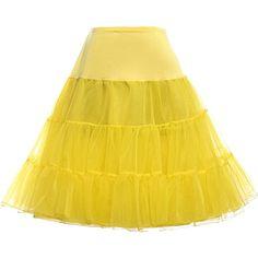 Paul Jones®Dress Grace Karin Women 50s Yellow Petticoat Skirts Tutu Crinoline Underskirt.