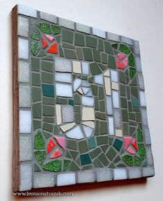 One Color, Color Show, House Address Sign, Ceramic Mosaic Tile, Thing 1, Lavender Blue, White Flowers, House Warming