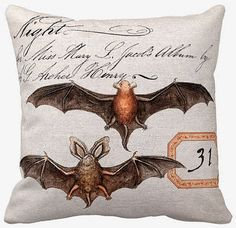 Vintage Halloween Bat Pillow Cover by Jolie Marche