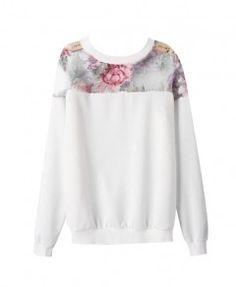 Organza Splice Flower Print Long Sleeves Sweatshirt