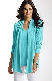 Sanibel cardi (comes in 4 more colors). A perfect lightweight layer. Open front. Shawl collar. Long sleeves. Low-hip length. Linen. Hand wash. Imported.