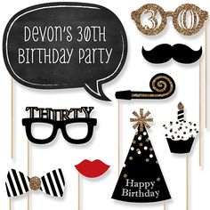 Adult 30th Birthday - 20 Piece Photo Booth Props Kit | BigDotOfHappiness.com