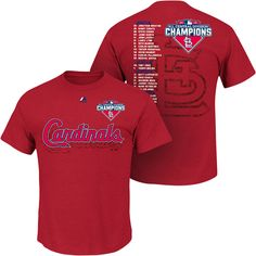 St. Louis Cardinals 2015 NL Central Division Champions Roster T-Shirt