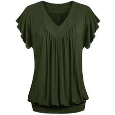 Women's Plus Size Women Ruffle Cotton Short Sleeve Top ($15) ❤ liked on Polyvore featuring tops, armygreen, tops & tees, green top, plus size short sleeve tops, short sleeve tops, plus size tops and frill top