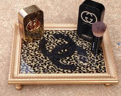 Chanel Inspired Leopard Print Vanity Tray on Etsy, $55.00