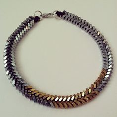 Hex nut necklace in gold and silver in braided by McIntoshJewelry