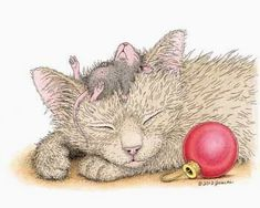 """The kitty & """"Monica"""" from House-Mouse Designs® Illustrator, House Mouse Stamps, Mouse Pictures, Cat Mouse, Christmas Cats, Xmas, Cute Creatures, Copics, Cute Cartoon"""