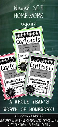 Homework Contracts for 21st Century Learners - Grade 5-6 WHOLE YEAR