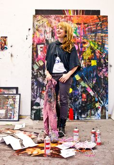 Despina Stokou's dynamic personality and engaging spirit are reflected equally through her vibrant, colorful canvases, overflowing with strong messages and prodding statements; in addition to her unabashed curatorial approach, unafraid of experimentation.