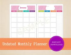 Undated Half Page Monthly Planner  Printable by MBucherConsulting